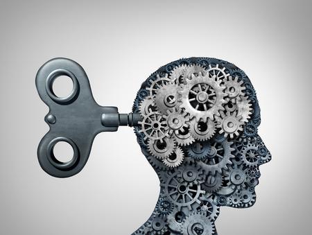Symbole de fonction cérébrale et esprit de psychologie en tant que tête humaine avec symboles d'engrenage et cog comme concept de pensée comme illustration 3D. Banque d'images - 87404200