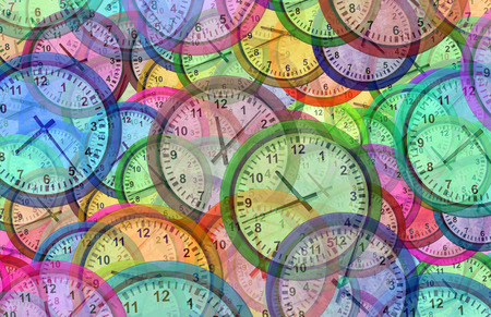 Time background with multiple clock symbols as a chronology and traveling pattern as a 3D illustration. Stock Photo