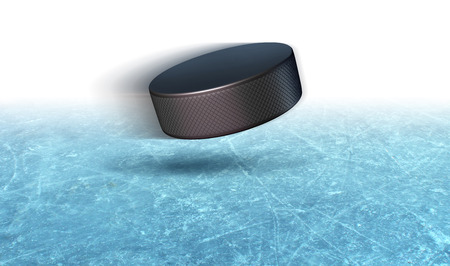 Ice hockey puck action on a rink arena closeup background with a flying rubber winter sport equipment with blank text area as a 3D illustration.