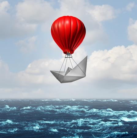Un concept d'avantage et un avantage commercial compétitif comme un bateau en papier étant soulevé par une montgolfière volant au sommet donnant un coup de pouce supplémentaire par l'innovation et la pensée intelligente avec un rendu 3D. Banque d'images - 87998689