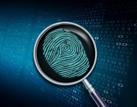 Het zoeken van privé informatie en persoonlijk de technologieconcept van de veiligheidsurveillance met een 3D geeft terug.