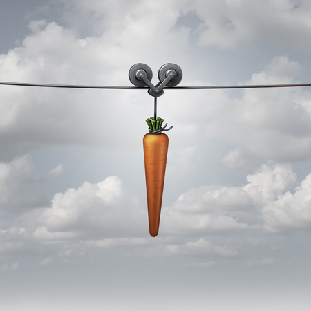 Enticement and motivation concept as a carrot pulled on a wire as a metaphor for marketing reward to attract and encourage a followed with a 3D render.