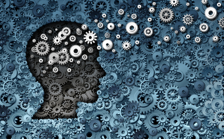 Neuroscience development and training concept as a group of cog wheels and gears shaped as human head with information transfer as a technology brain symbol or psychology exchange success as a 3D render. Stok Fotoğraf