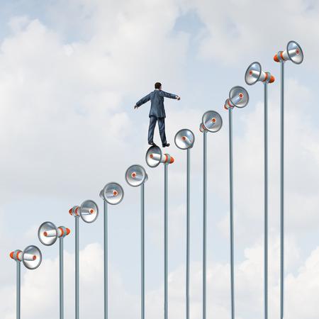 Marketing communication improvement as a businessman climbing a group og megaphone poles as a business promotion metaphor with 3D illustration.
