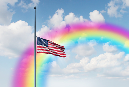 Half mast American flag hope rainbow concept as a symbol of the United States flying at low level on the flagpole with a sun glow as an icon of honor respect and mourning after a tragedy and for fallen heroes with 3D illustration elements.