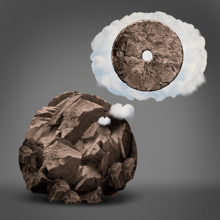 Dreaming of success and aspiration for ambition imagination as a rough rock imagining  becoming a wheel in a dream cloud bubble in a 3D illustration style. Stock Photo