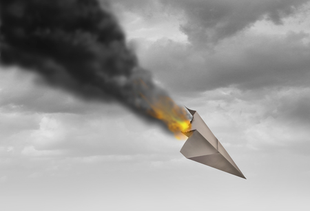 Business strategy failure as a despair metaphor with a burning paper airplane with smoke or financial market drop and psychological burnout symbol in a 3D illustration style. Stock Illustration - 87913053