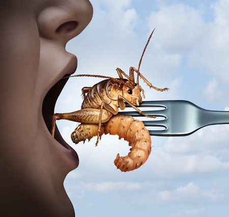 Eat insects and eating bugs as exotic cuisine and alternative high protein nutrition food as a person with an open mouth with a cricket and larva on a fork as a symbol for entomophagy with 3D render elements.