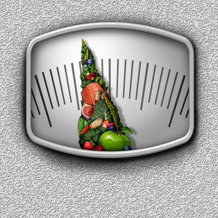 Healthy food weight scale as nutritious fruit vegetables and protein shaped as a measuring dial needle as a diet control concept in a 3D illustration style. Banco de Imagens