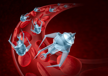 Nanorobots and nanotechnology bioengineering and advanced medical technology concept as nanomedicine robots inside a human artery flowing inside as a treatment for disease as a 3D render.