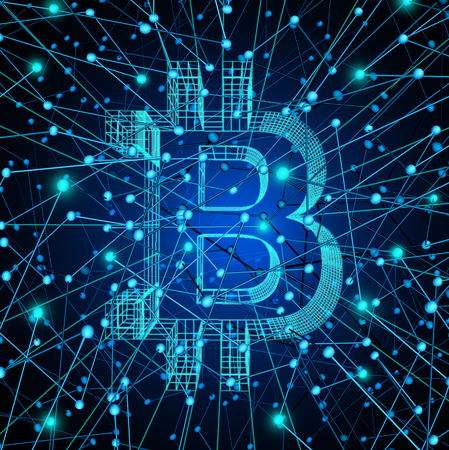 Bitcoin network as a digital money technology or crypto currency symbol as virtual banking on the internet as a future money concept as a 3D render. Zdjęcie Seryjne