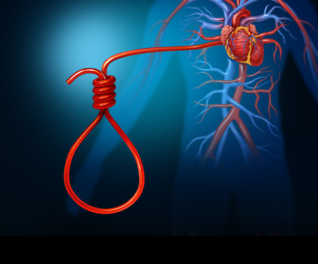 Heart attack concept and cardiac arrest or stroke symbol as a human artery shaped as a noose as a medical or medicine icon for the dangers of coronary disease with 3D render elements.