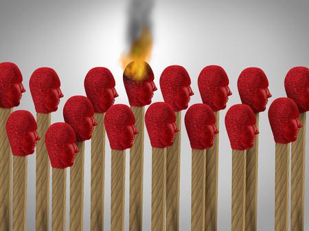 beïnvloeder en invloed als een overtuigende carrière-medewerker die invloed heeft of fungeert als een katalysator om marketing of ideeën te verspreiden als een match in de vorm van werknemers met 3D-renderelementen. Stockfoto