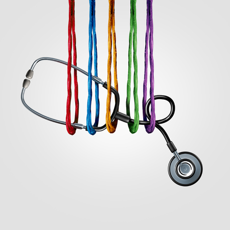 Medical support together and health care insurance or medicine team collaboration community services,helping as a diverse group of ropes supporting a doctor stethoscope with 3D illustration elements.