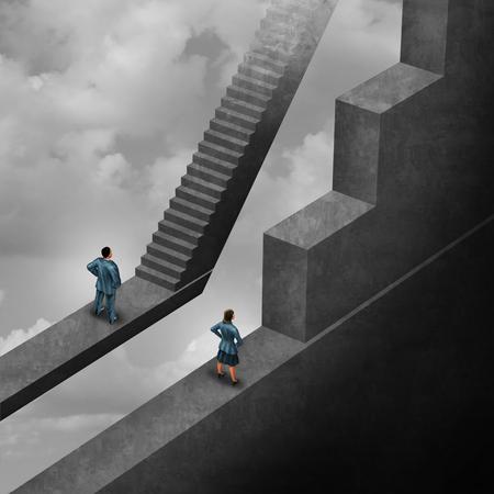 Geschlechtsdiskriminierung und Sexismusungleichheit für seiendes weibliches Konzept als Frau mit der Last des Kletterns eines schwierigen Hindernisses und eines Mannes mit einfacher Wegtreppe als Symbol der Illustration 3D als Symbol für unfaire Geschlechtsvoreinstellung.