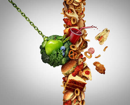Nutrition detox concept diet breaking through as a break the habit symbol with awrecking ball demolishing a wall of junk food or fastfood with 3D illustration elements. Stock Photo
