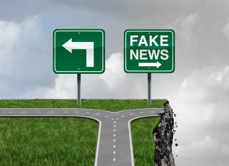 Fake news risk and alternative facts danger concept as a crossroad path with truth and false direction traffic sign leading to a broken cliff as a media or fraudulent communication symbol with 3D render elements.