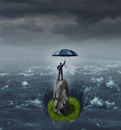 Businessman success thinking concept as a person holding an umbrella in the middle of a flood or ocean standing on a dry rock with grass floor with 3D render elements. Stock Photo