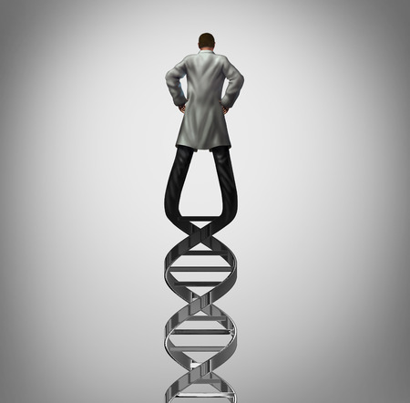 Genetics doctor and biotechnology researcher or genetisist concept as a scientist shaped as a DNA strand as a genome research symbol with 3D illustration elements. Stock Photo