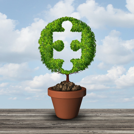 Growth consulting solution idea as a growing tree shaped as a jigsaw puzzle piece with 3D illustration elements. Stock Photo