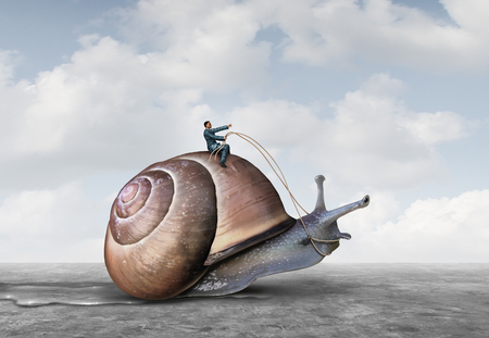 laid: Business patience and low pressure take your time symbol controlling the pace at the workplace concept as a businessman riding a slow snail in a 3D illustration style.