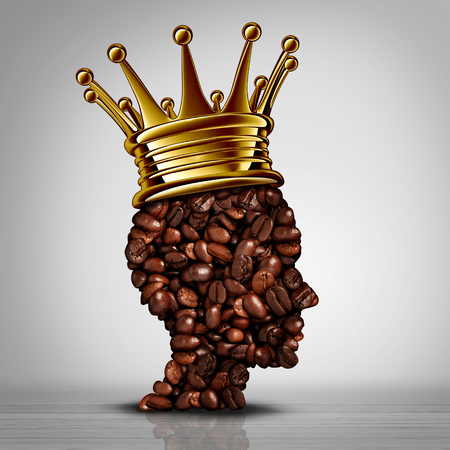 Best coffee concept as a king symbol with roasted beans shaped as a cafe barista wearing a gold crown as an icon for the best espresso or coffees with 3D elements.