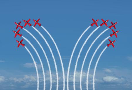 3d 렌더링으로 eah 팀에서 멀리 벤딩 제트 비행기의 두 그룹으로 불일치 및 헤어 스타일에 대 한 비즈니스는 유에 대 한 구분 된 그룹 개념.