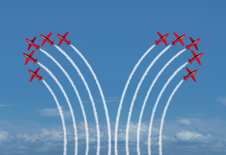 Divided group concept as a business metaphor for disagreement and parting ways as two groups of jet airplanes bending away from eah team as a 3D render.