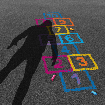 Child predator and threatening stranger shadow on a kid or child playground with a hopscotch game as a criminal child abuse concept in a 3D illustration style.