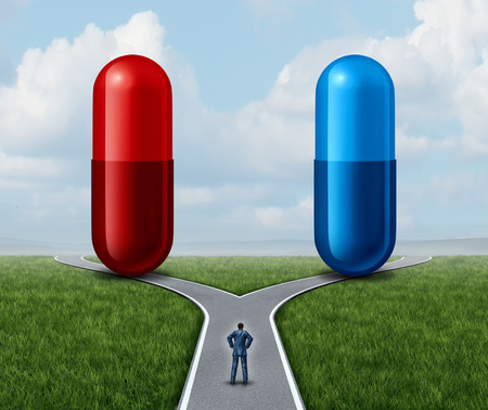 Red and blue pill choice as a person at a crossroad looking at medication capsules as a symbol of choosing between truth and illusion or knowledge or ignorance or pharmaceutical treatment option concept with a 3D render.