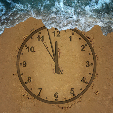 Time loss schedule management  lifestyle stress deadline and deadline management for family and a financial date as a clock drawn on sand washed away by waves in a 3D illustration style. Lizenzfreie Bilder