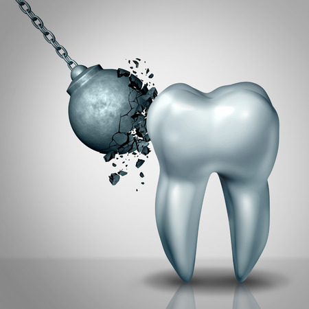 Strong tooth enamel and teeth strength dental or dentistry  symbol as awrecking ball being demolished by a solid white molar as a medicine concept as a 3D render. Lizenzfreie Bilder