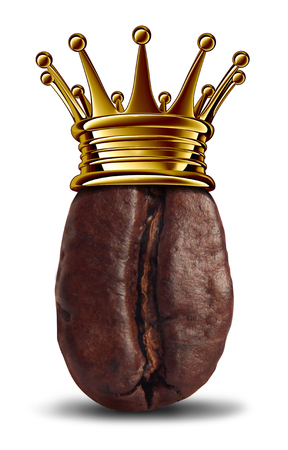 Coffee king symbol as a roasted bean wearing a royal gold crown as an icon for the best espresso or coffees with 3D elements. Stock Photo