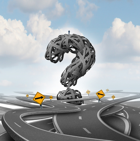 Direction confusion question as a person standing on a group of tangled streets shaped as a question mark as a business or life metaphor for finding answers with 3D render elements. Standard-Bild