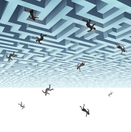 Falling down business people and economic turmoil metaphor as a group of businesswomen and businessmaen plunging from a maze with 3D render elements. Lizenzfreie Bilder