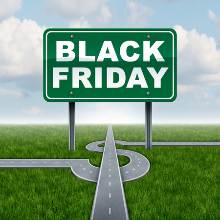 Black friday sales sign and seasonal retail promotion advertising and marketing for discounted prices as a street sign and dollar sign road attracting business. Lizenzfreie Bilder