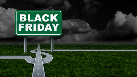 Black friday promoting profit sales sign and seasonal retail promotion advertising and marketing for discounted prices as a street sign and dollar sign road attracting business. Lizenzfreie Bilder