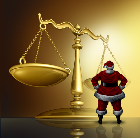 Christmas law and winter holiday legal issues as santaclaus standing in front of a justice scale with 3D render elements. Lizenzfreie Bilder