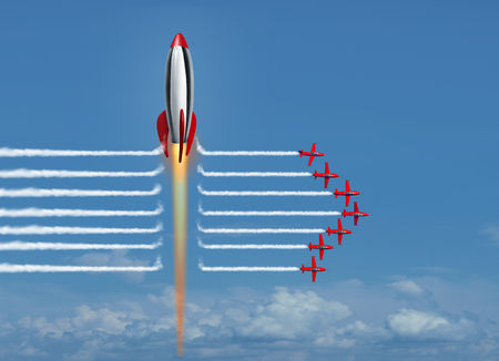 Thinking big business concept as a large rocket blasting through the smoke of a group of jet air planes as a financial metaphor for corporate winner as a 3D render.
