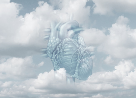 fidelidad: Clean heart and purity as a metaphor for faith honesty and integrity as a human organ in the sky with 3D illustration elements.