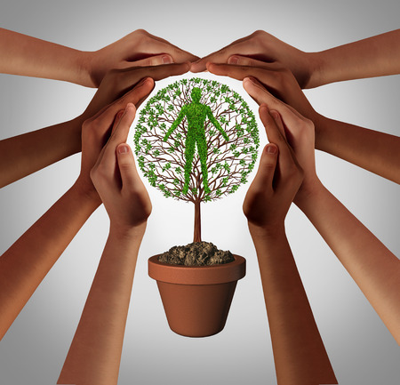 Protecting humanity and concept of insurance or social protection as a group of diverse hands supporting a tree shaped as a human body with 3D render elements.
