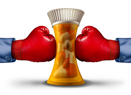 Pharmaceutical pressure and mealth insurance stress concept as boxing gloves squeezing a prescription drug bottle or vitamin container with 3D render elements.
