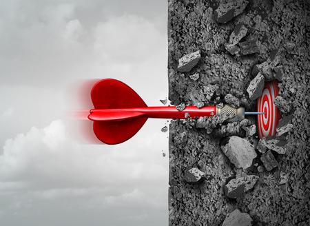 Enfoque y determinación para tener éxito y romper profundamente en el interior superando obstáculos como un muro de hormigón para alcanzar un objetivo como una metáfora con elementos de ilustración en 3D. Foto de archivo