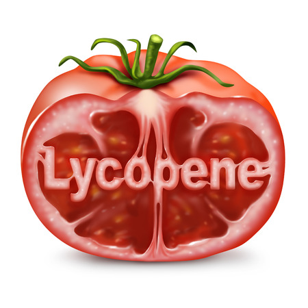 Lycopene tomato concept as a cut red fruit with text inside as a food supplement used to help with cancer prevention as a health nutrient dietary symbol.