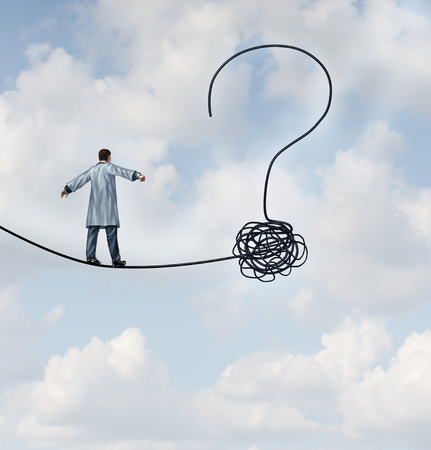 Doctor questions and medical risk uncertainty as a medical professional or scientist walking on a high wire shaped as a question mark in a 3D illustration style. Stock Photo