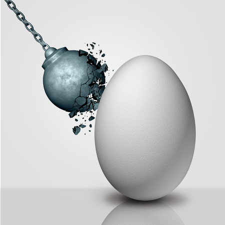 Inner strength concept and stamina or durability metaphor as a wrecking ball being destroyed by an egg as a durability and persistence icon as a 3D render.