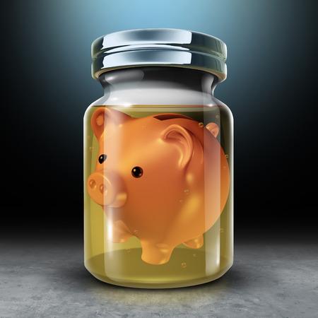 Behoud geld en financiële besparingen en een langetermijnconcept voor budgettaire economische planning als spaarvarken in een pot vol met formaldehydevloeistof als een 3D-weergave. Stockfoto