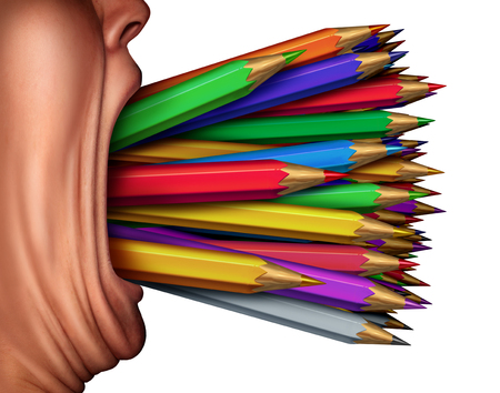 a creator: Creativity expression and creating content as a designer symbol as a person with color pencil crayons coming out of an open mouth with 3D render elements.