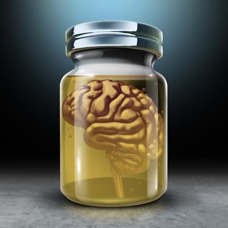 Behoud uw geest en hersenenbehoud als medisch en psychologiesymbool voor het beschermen van geheugen en het bewaren van neurologiegezondheid met 3D render illustratie.