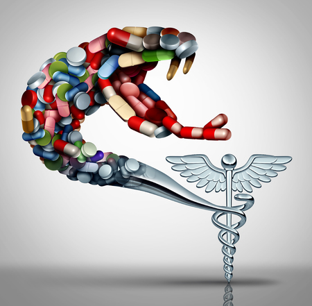 Medication health danger and prescription drug abuse concept as a social issue symbol for the addiction to pharmaceutical medication as a caduceus snake shaped with pills as a 3D render.